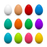 Set of 3d eggs in different colors for Easter Stock Photography