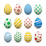Set of 3d eggs with different patterns for Easter. Vector objects for festive design Stock Photo