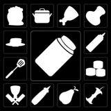 Set dżem, Apple, bonkreta, musztarda, masarka, suszi, szpachelka, Panca royalty ilustracja
