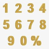 Set 3D of figures of golden color and sign of percent Royalty Free Stock Photography