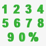 Set 3D of figures of green color and sign of percent Royalty Free Stock Photography