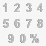 Set 3D of figures of grey color and sign of percent Royalty Free Stock Photo