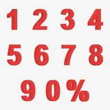 Set 3D of figures of red color and sign of percent Royalty Free Stock Photos