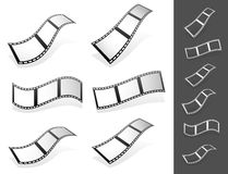 Set of 3d Filmstrips with gray fillings with different distortio Royalty Free Stock Photos