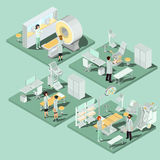 Set of 3D flat isometric illustrations of medical premises in the clinic with the appropriate equipment. Set of 3D flat isometric illustrations interior of Royalty Free Stock Images