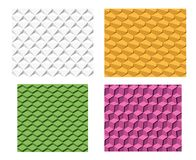 Set of 3D geometric seamless pattern. Vector Stock Image