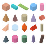 Set of 3D geometric shapes. Isometric views. The science of geometry and math. Colorfull objects  on white background. Flat style. Vector illustration Royalty Free Stock Photo