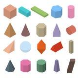 Set of 3D geometric shapes. Isometric views. Royalty Free Stock Photo