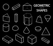 Set of 3D geometric shapes. Isometric views. The science of geometry and math. Linear objects isolated on white background. Outlin. E. White lines on a black Royalty Free Stock Photo
