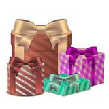 Set 3D Gift box with a ribbon for Birthday Celebration, Christma. S, Valentines, Party, Anniversary and Eid Mubarak, on a white background. Vector Stock Photos