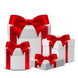 Set 3D Gift box template with a red ribbon for Birthday Celebrat. Ion, Christmas, Valentines, Party, Anniversary and Eid Mubarak, on a white background. Vector Stock Photography