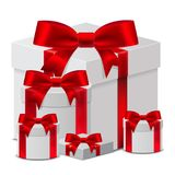 Set 3D Gift box template with a red ribbon for Birthday Celebrat. Ion, Christmas, Valentines, Party, Anniversary and Eid Mubarak, on a white background. Vector Royalty Free Stock Photo