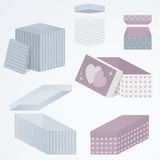 Set 3d gift boxes packaging in different perspectives, shapes and pattern,  illustration. Set of open and closed 3d gift boxes packaging in different Stock Image