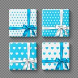 Set of 3d gift boxes with realistic bow in white and blue colors. Dotted and hearts pattern. Decorative elements with. Shadow for holiday design. Isolated on Stock Photo