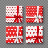 Set of 3d gift boxes with realistic bow in white and red colors. Dotted and hearts pattern. Decorative elements with. Shadow for holiday design. Isolated on Royalty Free Stock Photos