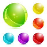 Set of 3d glass button. Glossy icons for web. Stock Photos