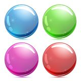 Set of 3d glass button. Glossy icons for web. Vector design round sphere Stock Photo