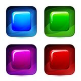 Set of 3d glass button. Glossy icons for web. Vector design square with rounded corner Stock Photos