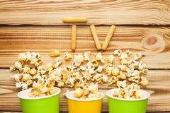 Weekend at home, leisure lifestyle, TV, fast food concept. stock images