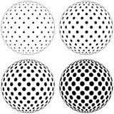 Set of 3D globe ball, dots circles pattern on the surface of the sphere, vector polka dot pattern on the surface of the ball. Easy to edit Royalty Free Stock Photo