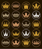 Set of 3d golden royal crowns isolated. Majestic classic symbols. Coronet collection. Web and graphic elements Royalty Free Stock Photography