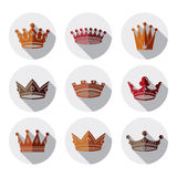 Set of 3d golden royal crowns isolated. Majestic Stock Photos
