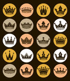 Set of 3d golden royal crowns isolated. Majestic classic Royalty Free Stock Photography