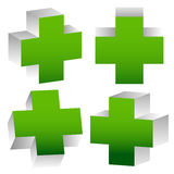 Set Of 3D Green Crosses Stock Images