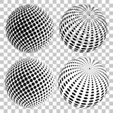 Set of 3D halftone dots spheres, on isolated transparent background. Vector elements for your design. royalty free illustration