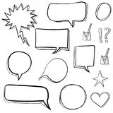 Set 3d hand drawn icons: check mark, star, heart, speech bubbles. VECTOR. Black. Set hand drawn icons: check mark, star, heart, speech bubbles. VECTOR. Black Royalty Free Stock Photos