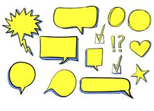 Set 3d hand drawn icons: check mark, star, heart, speech bubbles. VECTOR. Yellow color. Ed drawings Royalty Free Stock Images