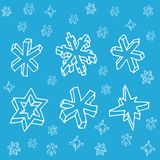 Set of 3D hand drawn snowflakes. Christmas seamless pattern. Vector illustration. Cute decorative ornament vector illustration