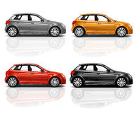 Set of 3D Hatchback Car Stock Images