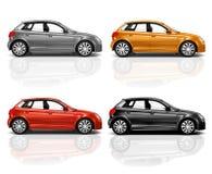 Set of 3D Hatchback Car Stock Images
