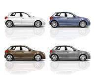 Set of 3D Hatchback Cars Stock Photo
