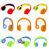 Set of 3d icon of colorful headphones on a white Stock Image