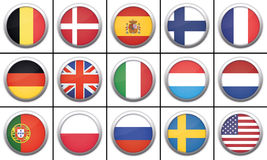 Set of 3D Icon Flags Stock Photography
