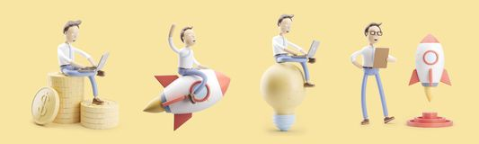 Cartoon character flies on a rocket into space. set of 3d illustrations. concept of creativity ind startup. Set of 3d illustrations. cartoon character flies on royalty free illustration