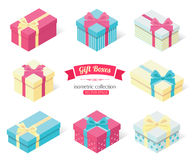 Set of 3d isometric colorful gift boxes with bows. Flat style design. Stock Images