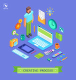 Set of 3d isometric design vector illustration. Set of flat design vector illustration concepts for creative process, web design and  development and branding Royalty Free Stock Image