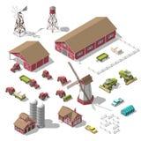 Set 3D isometric elementy dla infographics gra lub gospodarstwo rolne Wektorowa ilustracja odosobniony Obraz Royalty Free