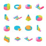 Set of 3D Isometric Infographic Elements Royalty Free Stock Photos