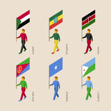 Set of 3d isometric people with flags of African countries. Standard bearers infographic - Sudan, Ethiopia, Kenya, Eritrea, Somalia, Djibouti Stock Photography