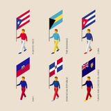 Set of 3d isometric people with flags of Caribbean countries Stock Image
