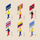 Set of 3d isometric people with flags of Caribbean countries Royalty Free Stock Photography