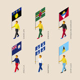 Set of 3d isometric people with flags of Caribbean countries. Standard bearers infographic - Guadelupa, Dominica, Antigua and Barbuda, Martinica, Saint Lucia Royalty Free Stock Image