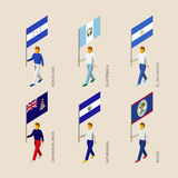 Set of 3d isometric people with flags of Caribbean countries. Standard bearers infographic - Honduras, Guatemala, El Salvador, Cayman Islands, Nicaragua Stock Photography