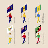 Set of 3d isometric people with flags of Caribbean countries. Standard bearers infographic - Montserrat, Barbados, Virgin Islands, Saint Kitts and Nevis, Saint Stock Image