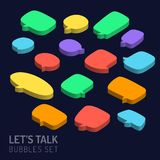 Set of 3d isometric speech bubbles icon. Set of 3d isometric speech bubbles icon stock illustration