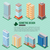 Set of 3d isometric tall buildings icons for map building. Real estate concept. Royalty Free Stock Image
